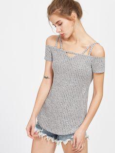 Camiseta con hombros descubiertos con aberturas - gris -Spanish SheIn(Sheinside)