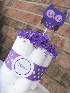 Personalized Small Diaper Cake Baby Shower by JudeBugsBabySweets, $8.00