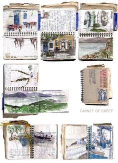 """Carnet de voyage """"Grèce"""" de Félicité Lefoulon, artiste, graphiste et illustratrice française. Son nouveau site : http://www.latelierdefelicite.fr/ <3"""