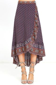The open road is where the Roaming Nomad Navy Blue Print High-Low Wrap Skirt fee. The open road is where the Roaming Nomad Navy Blue Print High-Low Wrap Skirt Skirt Outfits, Dress Skirt, Dress Up, Ruffle Skirt, Open Dress, Navy Dress, Girly Outfits, Midi Skirt, Modest Fashion