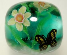 Daffodil Flower Butterfly Satake Glass by AyakoGlassGarden