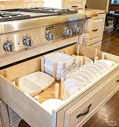 DIY custom dish drawer organizer! Much sturdier than a pegboard. See how to make a professional system for less than buying. This one will outlive your cabinets! No wobbled out holes like you get with…More #drawers #diykitchendrawer