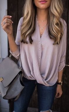 #summer #outfits / purple draped blouse