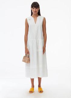 Eco Poplin Splitneck Dress – Tibi Official Black Sequin Dress, Black Sequins, White Dress, Long Halter Dress, Tibi Dresses, Trench Dress, Draped Dress, Colorblock Dress, Cotton Style