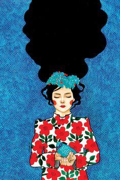 Please Go Slowly Canvas Artwork by Hülya Özdemir Art And Illustration, Drawing Sketches, Art Drawings, Drawing Art, L'art Du Portrait, Portraits, Abstract Portrait, Pop Art, Art Du Collage