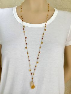 Citrine Long Necklace 14K Gold Filled Long Necklace Long