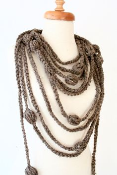 Extra Long Beige Unique Necklace Scarf free shipping by allapples, $22.00