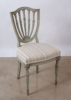 Set of 6 Belgian Antique Painted Shield Back Dining Chairs