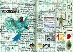 """""""November Journal pages: Journal pages for the first two weeks of November 2007. I stamped the background with the eraser of a No.2 pencil & wrote Manolo's name with wire.""""  By Geninne  - I need to keep a journal like this"""