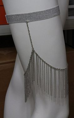 Leg Chain Silver Fringe Body Chains Boho Indie by crystalelements1