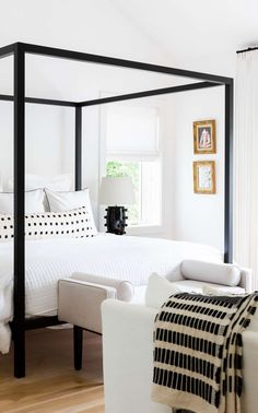 Chalet Cream and Black (limited) : Chalet Ivory and Black extra long lumbar pillow from Arianna Belle in the master bedroom of Ashley Robertson Modern Bedroom, Bedroom Decor, Bedroom Ideas, Contemporary Bedroom, Bedroom Neutral, Bedroom Simple, Contemporary Apartment, Bedroom Lighting, Minimalist Bedroom
