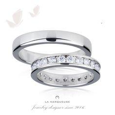 Obrączki wykonane z platyny. Damska obrączka została ozdobiona brylantami:). Kolekcja: Obrączki Platynowe La Marqueuse. ..: #obraczki #bizuteria #jewerly #wedding #slub  #LaMarqueuse :..