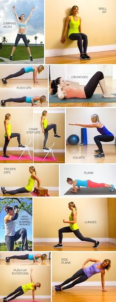 7 Minute Workout - Do each exercise for 30 seconds, rest for 10.