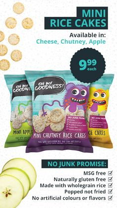 Checkers | Healthy Kids Snacks Healthy Snacks For Kids, Yummy Snacks, Snack Recipes, Mini Apple, Rice Cakes, Chutney, Superfoods, Chips, Tasty
