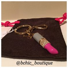 Kate Spade Lipstick Key Chain Brand new Kate Spade lipstick key fob with crystals in gold color    Bundle 2+ Items to save 15%!   No trades kate spade Accessories Key & Card Holders