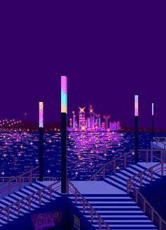 8-Bit City across the water | Pixel art