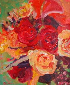 Original abstract flowers orange red roses on 8 X by garimadesigns, $50.00
