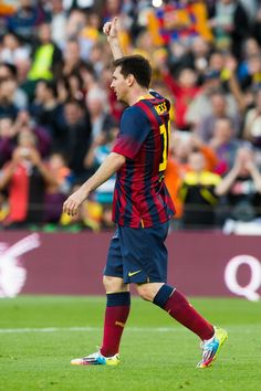 Lionel Messi of FC Barcelona celebrates after scoring his team's fourth goal and his 370th goal for FC Barcelona and therfore becoming the maximum scorer in the history of FC Barcelona during the La Liga match between FC Barcelona and CA Osasuna at Camp Nou on March 16, 2014 in Barcelona, Catalonia.
