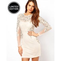 ASOS Mini Body-Conscious Dress In Mesh With Jewels ($144) ❤ liked on Polyvore