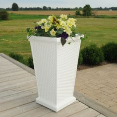 "Mayne Wellington 28"" tall patio planter in white! Made in the USA! www.gomayne.com"