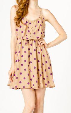 peach + purple polka dot dress