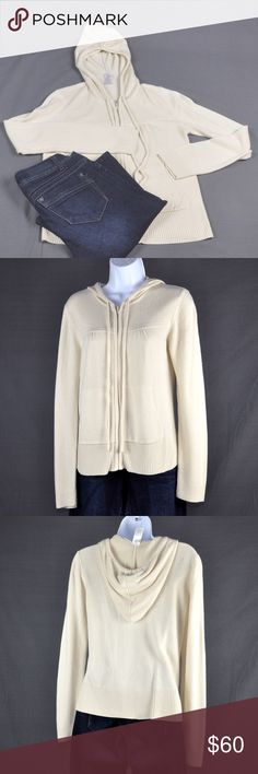 """Soft & Cozy Cream Colored Hooded Cardigan Hooded cardigan is an Unknown brand as only tag is a size tag. In excellent condition. No rips stains or tears. Front pockets and hood with drawstrings on this cardigan. Lightweight enough for spring and enough coverage for cool office temps. Has a soft, comfy, cozy feel. 100% acrylic. Measured flat: bust: 17"""", sleeve length: 25.5"""", length: 22"""". Smoke free pet friendly home. Sweaters Cardigans"""