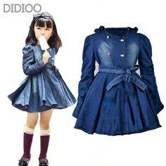 Roupas de manga longa denim para meninas princesa vestidos de roupas chidlren outono crianças roupas 2 - 16 anos(China (Mainland))