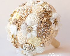 SALE Brooch bouquet gold Fabric Wedding Bouquet pione by feltdaisy