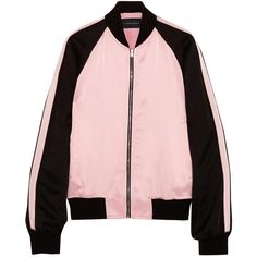 Mary paneled satin bomber jacket ($225) ❤ liked on Polyvore featuring outerwear, jackets, ceket, flight jacket, jonathan saunders, satin bomber jacket, bomber jacket and satin jacket