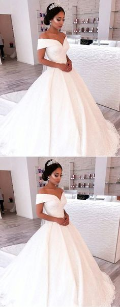 Vintage Off Shoulder V-neck Wedding Dresses Lace Ball Gowns by ainiprom, $246.23 USD