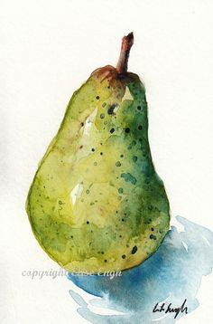 Original Watercolor Pear 4 x 6 by GrowCreative - good practice piece for me Watercolor Fruit, Fruit Painting, Watercolor Landscape, Watercolour Painting, Watercolor Flowers, Simple Watercolor, Tattoo Watercolor, Watercolor Animals, Watercolor Background