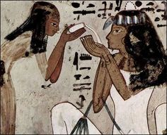 """The God of Sweetness: The ancient Egyptians knew about the healing powers of Honey. In fact, the first official recognition of the importance of Honey dates back to the 1st Dynasty and the """"Sealer of the Honey."""" In Niuserre's Sun temple, Bee-keepers are shown in hieroglyphics blowing smoke into Hives while removing Honey-combs. The Honey was immediately jarred, sealed and stored for years. Egyptians used Honey in medicines and ointments, as well as a natural antibiotic."""