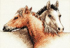 cross stitch Kone Horses dva kone obr