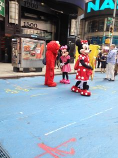 Mickey, Minnie & Elmo in Times Square today! #NYC