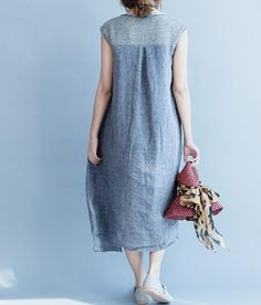 Women cotton and linen Sleeveless dress summer sundress by MaLieb