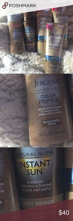 🌸JERGENS natural glow 5pc SELF TANNING PACK🌸 🌸JERGENS Natural glow Brand new 5 piece self tanning kit it includes color primer in shower scrub, Jergens instant sun, & three tubes of Jurgens natural glow firming daily moisturizer 2 fair/ medium skin tones & 1 is medium/ tan skin tones cost me well over $50 for the 5 pieces plus tax THIS IS The best way to get a deep dark beautiful tan in minutes Without the harmful raises of the sun you can go online with them to read up their products…
