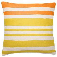 Judy Ross Textiles 18 x 18 Cream/Melon/Yellow Landscape Pillow | 2Modern Furniture & Lighting, $195