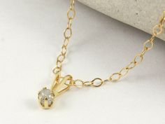 Simple Gold Necklace with White Diamond - Rough Uncut Diamond Pendant - Raw Natural Diamond - 14K Yellow Gold Necklace