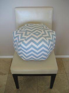 18 Ottoman Pouf Floor Pillow Blue Natural Zig Zag by aletafae, $85.00