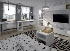 Czarno – biały dywan w geometryczne wzory, czarno – biała pościel i białe meble stanowią idealne połączenie. Tym...