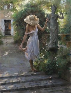 Spanish painter Vicente Romero studied at the Faculty of Fine Arts of San Fernando in Madrid. He owes his technique in oil painting to his academic training. He has been living on the Costa Brava since 1987, choosing a luminous and peaceful setting on the Mediterranean for his studio. It is certainly this luminosity that prevails in his art.