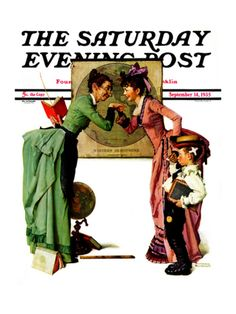 """""""First Day of School"""" or """"Back to School"""" Saturday Evening Post Cover, September 14,1935 Giclee Print by Norman Rockwell at Art.com"""