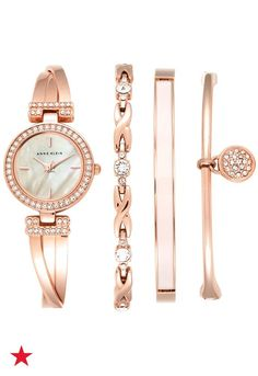 An Anne Klein crystal-accented, rose gold watch and bracelets set is perfect for any fashion-lover. She can mix and match her arm candy as her heart desires. Available now at macys.com!