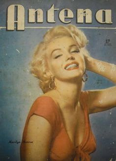 """Antena - 1954, magazine from Argentina. Front cover publicity photo of Marilyn Monroe for """"Niagara"""" by Bruno Bernard, 1952."""