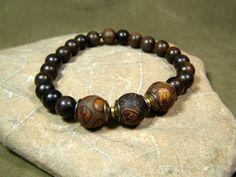 Mens Beaded Bracelet Wood Bracelet Mens by StoneWearDesigns