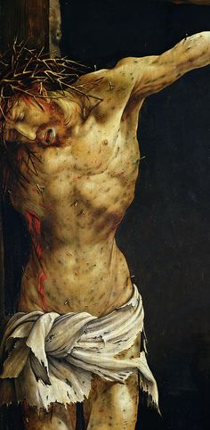 Matthias Grünewald, c.1475-1528, German, The Crucifixion (detail) - Isenheim Altarpiece (closed), 1523-24. Oil on wood. Kunsthalle, Karlsruhe. Northern Renaissance.
