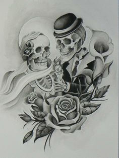 Till death do us part. Skull Tattoos, Body Art Tattoos, Tattoo Drawings, Tatoos, Badass Tattoos, Black Eyed Peas, Mago Tattoo, Skull Coloring Pages, Coloring Book