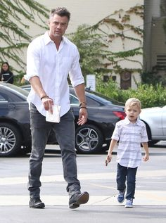 Josh Duhamel and his son, Axl, attend church services in Los Angeles on Oct. Josh Duhamel Transformers, Dakota Do Norte, Park Shin, Skylar Astin, Eric Dane, Tamar Braxton, Baby George, Hottest Male Celebrities, Royal Babies