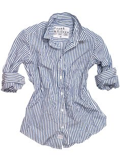$178 perfect Mother's Day gift.  Blue and white stripe classic Frank and Eileen shirt