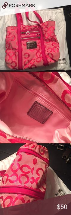 Pink Coach Shoulder bag Pink logo Coach fabric. With dust bag. Very Gently used. Only stain shown on back in fourth picture. Light pink satin inside. Has both logo tags (leather and clear plastic). Coach Bags Shoulder Bags